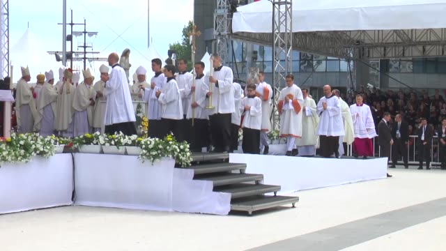 various shots from a holy mass led by pope francis at macedonia square in skopje on may 07 2019 - skopje stock videos and b-roll footage