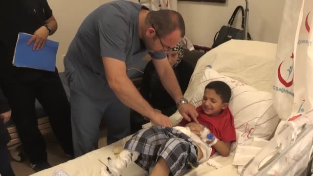various shots from a state hospital in turkey's southern border province kilis in which 7-year-old syrian boy abdulkadir naci mustafa gets treatment,... - aunt stock videos & royalty-free footage