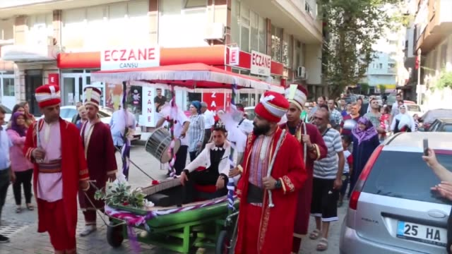 Various shots from a Turkish wedding in which groom Kemal Inser appears sailing a vessel on land to take bride on July 16 2018 in Manisa western...