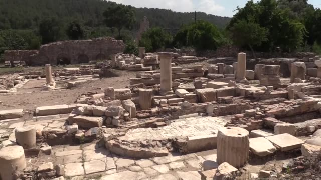 various shots from archaeological site at stratoneikeia ancient area which is listed in unesco world heritage in turkey's southwestern mugla province... - mugla province stock videos and b-roll footage