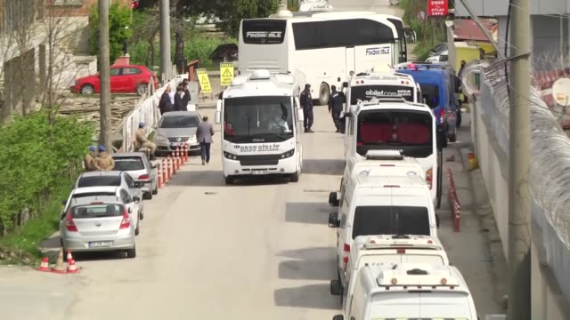 various shots from buses leaving with the released prisoners on april 15, 2020 in northern ordu province after the parliament ratified a penal reform... - beneficiary stock videos & royalty-free footage