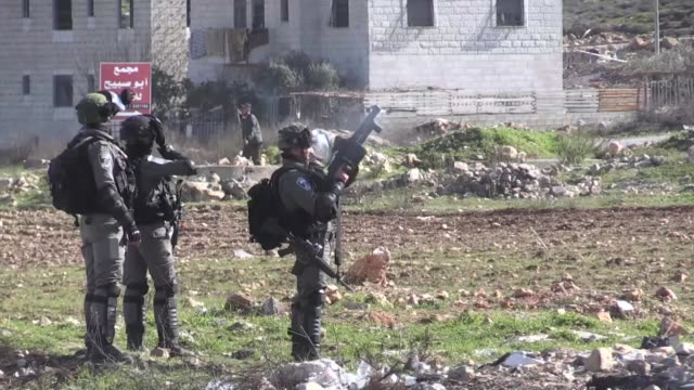 Various shots from clashes between Israeli forces and Palestinian demonstrators in AlBireh on February 02 2018 Dozens of Palestinians were injured in...