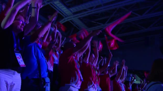 various shots from closing ceremony of 23rd summer deaflympics in coastal black sea province samsun, turkey on july 30, 2017. - turkish youth and... - 18 23 months stock videos & royalty-free footage