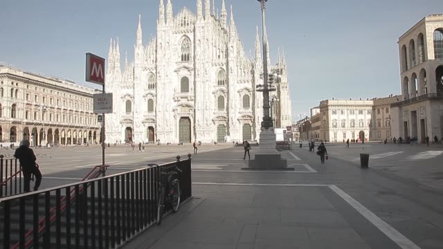 various shots from deserted streets of milan on march 11 2020 as millions of italians prefer to stay at home due to the coronavirus outbreak as the... - corona stock-videos und b-roll-filmmaterial
