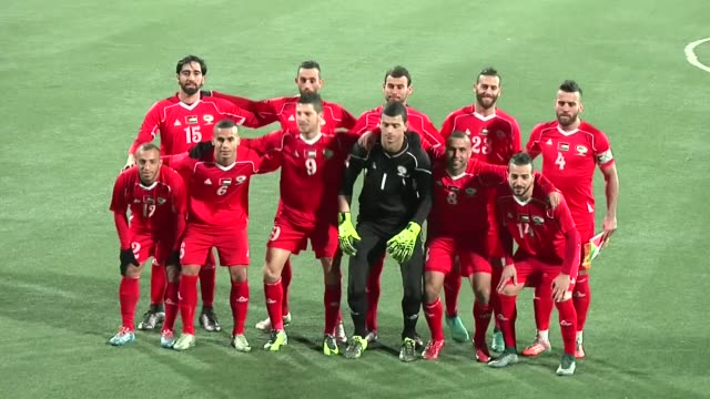 various shots from friendly football match between palestinian national football team and chile´s club palestino at nablus football stadium in the... - international team soccer stock videos & royalty-free footage