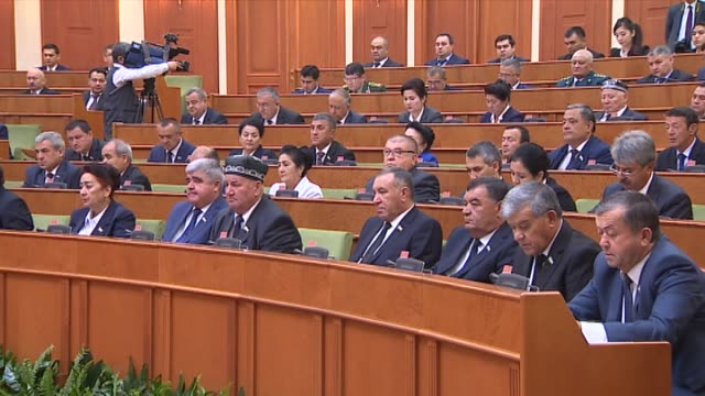Various shots from general meeting of the Uzbek Senate as a mass amnesty of prisoners is approved ahead of the December 08 anniversary of the...
