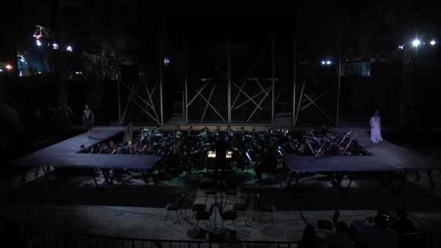 various shots from giuseppe verdi's 'aida' at the theatre antique carthage in tunisia on july 05 2018 - carthage tunisia stock videos & royalty-free footage