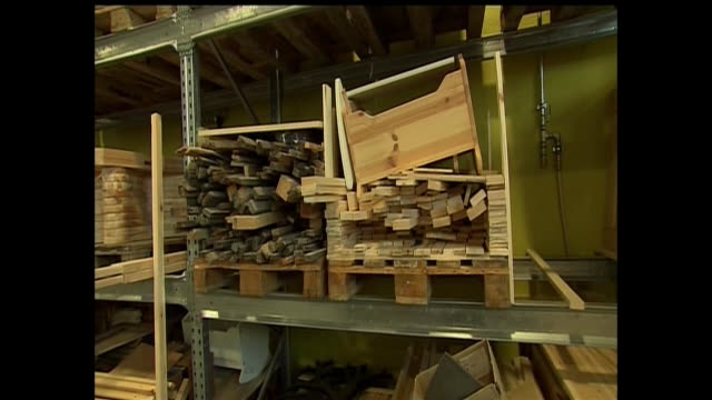 stockvideo's en b-roll-footage met various shots from inside a wood working shop meant for prisoners at a jail in norway. - crime or recreational drug or prison or legal trial