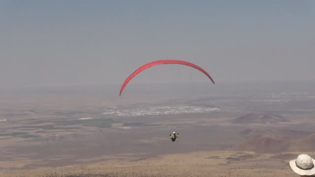 various shots from paragliding world cup in turkey's central aksaray province on september 08, 2018. details from paragliders interview with mustafa... - championships stock videos & royalty-free footage