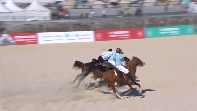 vídeos de stock, filmes e b-roll de various shots from pato national sport of argentina at the 4th ethnosport cultural festival opening ceremony at ataturk airport in istanbul turkey on... - festivaleiro