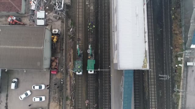 various shots from repair works at highspeed train crash site in ankara turkey on december 15 2018 at least nine people were killed and 47 others... - train crash stock videos and b-roll footage
