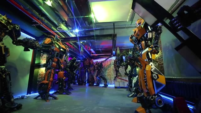 "various shots from rise of the machines museum, where 150 characters from famous hollywood movies such as ""terminator"", ""transformers"", ""mad max""... - terminator 3: rise of the machines stock videos & royalty-free footage"