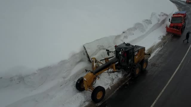various shots from road crews working in the eastern turkey amid intensive snowfall which is effective in the region on february 16 2019 in kars... - kars stock videos & royalty-free footage