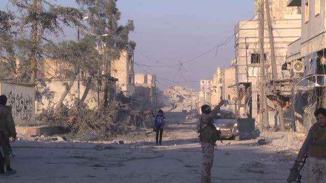 various shots from syria's albab after taking control of the district's centrum from daesh terrorists during the operation euphrates shield aleppo... - ブービートラップ点の映像素材/bロール