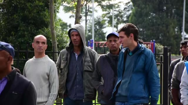 various shots from tent city in bogota where venezuelan refugees were started to be relocated by the mayor of bogota on november 13 2018 - 難民点の映像素材/bロール