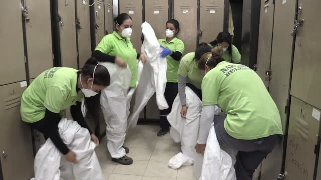 various shots from the 7-person female disinfection team working for municipality in the narlidere district contributes to the fight against novel... - girl power stock videos & royalty-free footage