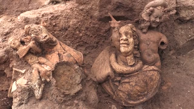 Various shots from the arhecological site in which 2100yearold sculptures have been found in Kurul Castle in Turkey's Ordu province on July 31 2018...
