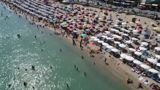various shots from the blue-flagged beaches in in izmir's cesme district, turkey on august 29, 2018. turkey with its 459 blue flag-certified beaches... - tourism stock videos & royalty-free footage