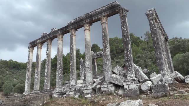 various shots from the euromos ancient city in mugla province of southwestern turkey on september 02 2018 euromos ancient city dating back to 5 bc... - mugla province stock videos and b-roll footage