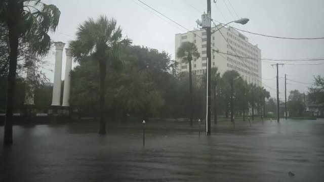 vidéos et rushes de various shots from the flooded streets as hurricane dorian started to be effective in charleston south carolina united states on september 05 2019... - charleston