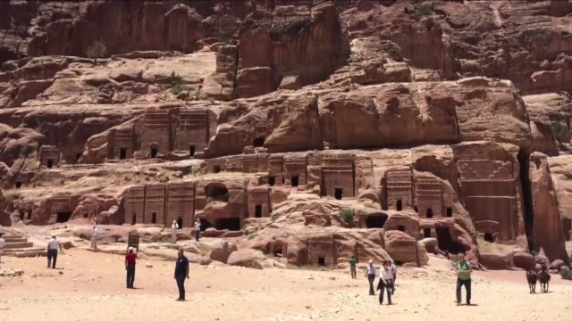 various shots from the historical petra city in the southern jordanian governorate of ma'an on june 10 2016 being among unesco intangible cultural... - gulf of aqaba stock videos & royalty-free footage