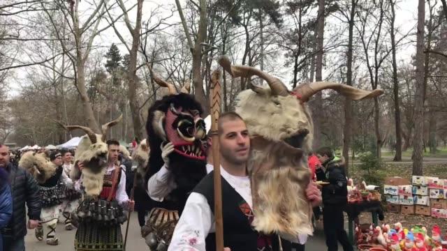 Various shots from the International Mummers Festival 'Kukerlandia' in Yambol Bulgaria on February 24 2018