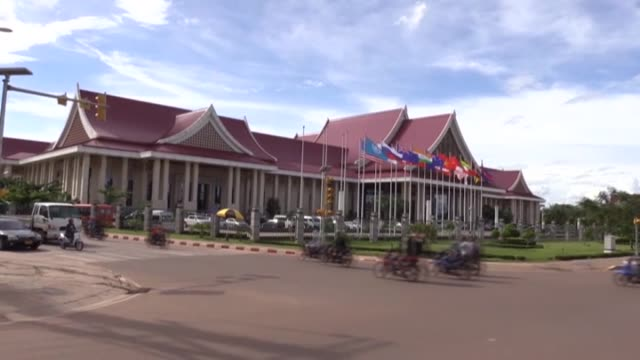 various shots from the laos capital of vientiane ahead of the 28th and 29th asean summits on september 05 2016 the leaders of the association of... - association of southeast asian nations stock videos & royalty-free footage