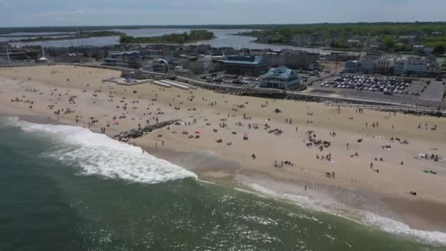various shots from the long branch beach as people flocked to beaches amid coronavirus in new jersey the united states on may 16 2020 state beaches... - sunbathing stock videos & royalty-free footage