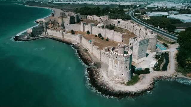 various shots from the mamure castle located at the mediterranean sea side in mersin province of southern turkey on august 30 2018 the mamure castle... - mediterranean turkey stock videos and b-roll footage