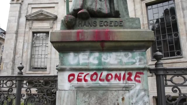 various shots from the statue of the danish-norwegian missionary hans egede as the attacks to colonists sculptures ongoing after the african american... - colonial stock videos & royalty-free footage