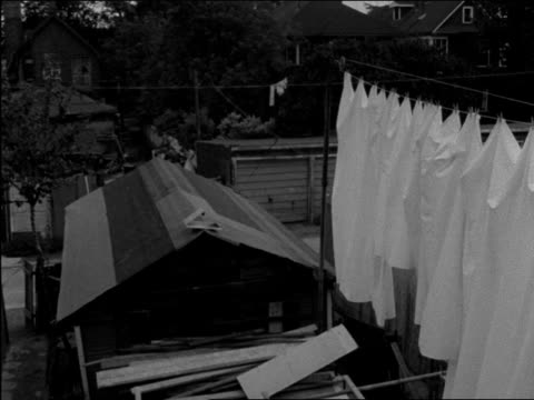 various shots inside italian canadian household - various shots of backyard showing garden and clothesline, man and boy weeding tomato patch. italian... - ethnicity stock videos & royalty-free footage