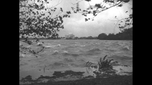 various shots looking across choppy waters of potomac river at jefferson memorial and washington monument in distance / [note exact day not known] - jefferson memorial stock videos and b-roll footage