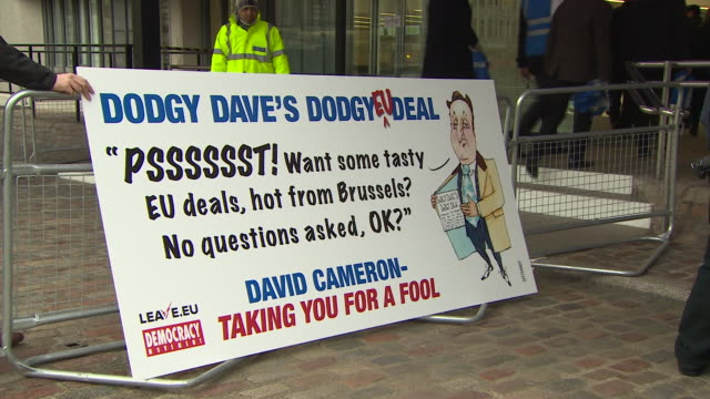 various shots of a 'leaveeu' campaign banner mocking david cameron and the proposed deal with the eu - gender stereotypes stock videos and b-roll footage