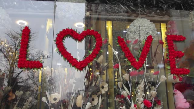 Various shots of a souvenir gift shop on Valentine's Day in Kabul Afghanistan on February 14 2017 Valentine's Day celebrated all over the world on 14...