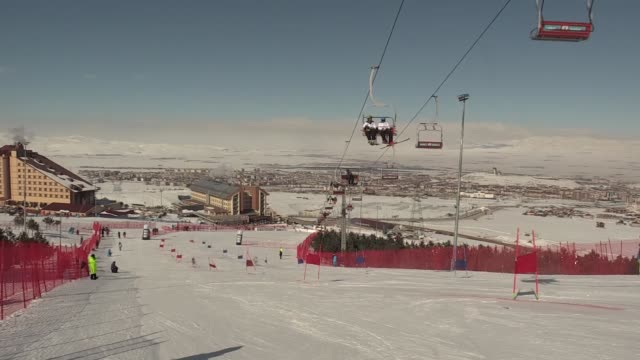 Various shots of alpine skiing race within the European Youth Olympics Winter Festival 2017 at Palandoken Ski Centre in Erzurum Turkey on February 17...