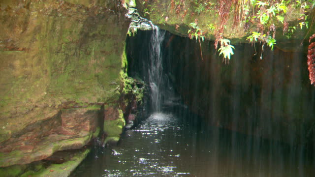 Various shots of an overhang waterfall with surrounding mosscovered rocks rainforest ferns and a plunge pool at the base