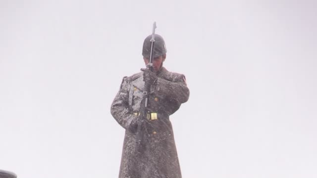 various shots of anitkabir the mausoleum of turkish republic's founder mustafa kemal ataturk during a snowfall on national sovereignty and children's... - mausoleum stock videos and b-roll footage