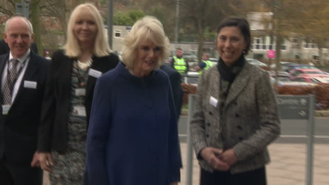 Various shots of Camilla Duchess of Cornwall arriving at Royal Stoke University Hospital and being greeted by staff and officials on November 28 2017...
