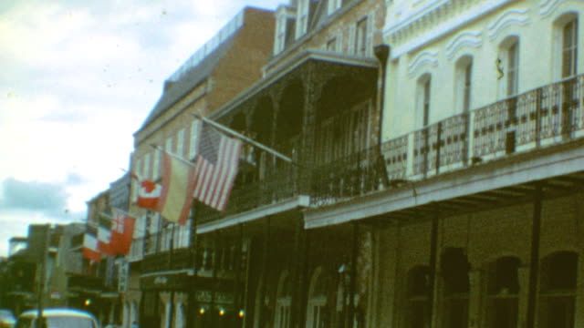 various shots of canal and adjacent streets in the french quarter / french quarter on june 06 1970 in new orleans lousiana - new orleans stock videos & royalty-free footage