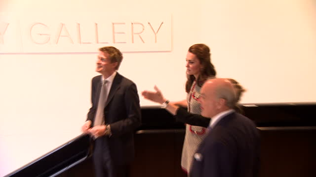 various shots of catherine duchess of cambridge touring the sackler courtyard and sainsbury gallery during a visit to officially open the new... - victoria and albert museum london stock videos & royalty-free footage
