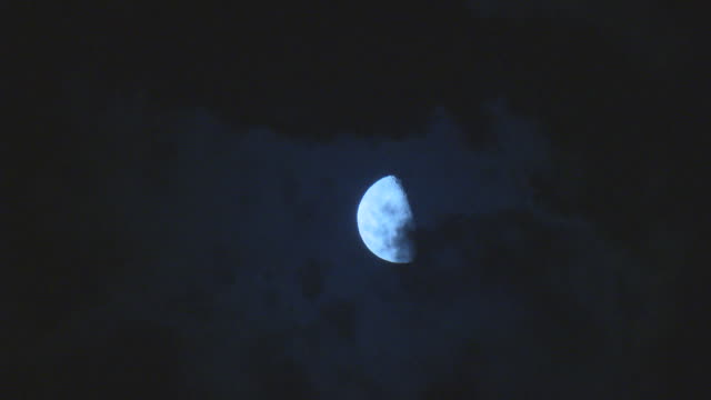 various shots of clouds moving past halfmoon - half moon stock videos & royalty-free footage
