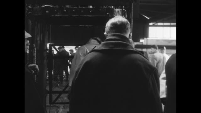 vídeos de stock e filmes b-roll de various shots of coal miners smiling for camera / prince philip duke of edinburgh walking with others at coal mine / philip enters elevator /... - mineiro de carvão