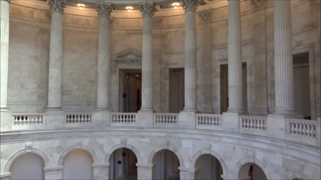 various shots of columns inside the senate russell senate office building - united states senate stock videos & royalty-free footage