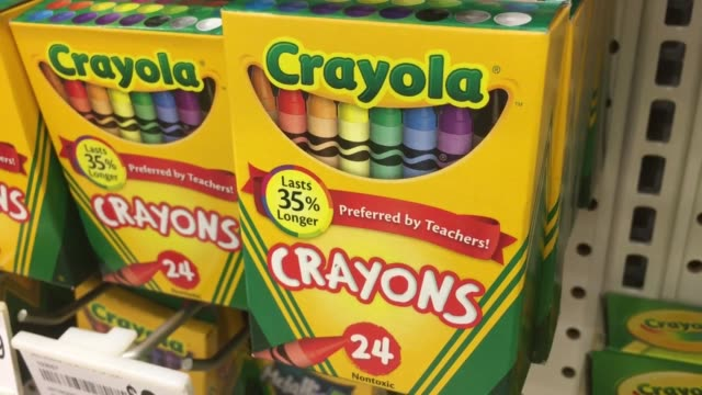 various shots of crayola crayons. crayola will discontinue a color from the 24 count box. - crayon stock videos & royalty-free footage