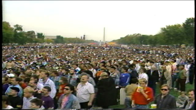 various shots of crowd at gay march in washington dc - 1987 stock videos & royalty-free footage