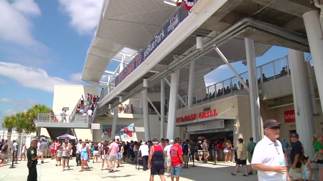 Various shots of crowds and concession stands at JetBlue Park at Fenway South the Boston Red Soxs spring training facility in Fort Meyers Florida on...