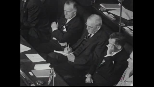 Various shots of delegates in Parliament House Canberra for South East Asian Treaty Organization Council Conference including John Foster Dulles