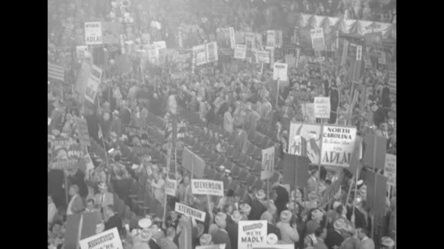 various shots of delegates on floor of democratic national convention at the international amphitheatre in chicago with signs for adlai stevenson /... - sam rayburn stock videos and b-roll footage