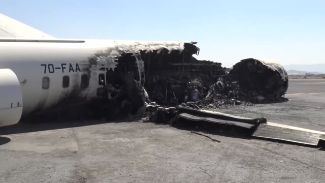 vídeos de stock, filmes e b-roll de various shots of destroyed sanaa international airport following the saudiled coalition airstrikes in the capital sanaa yemen on november 14 2017 - ataque aéreo