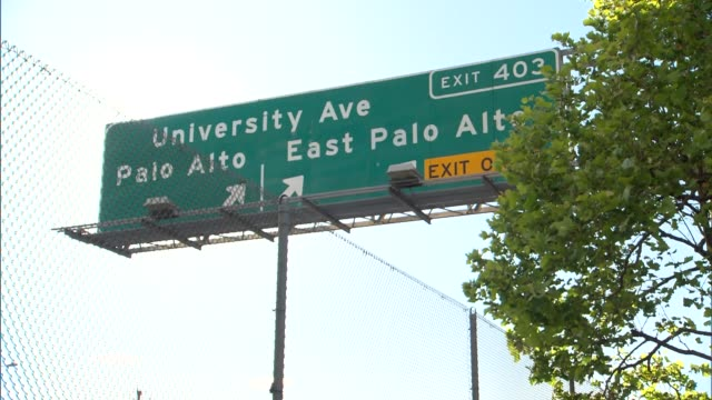 various shots of exit 403 signage for palo alto and east palo alto as traffic passes by on a sunny day - silicon valley stock videos & royalty-free footage